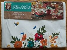 """The Pioneer Woman Table Runner 14"""" x 72"""" ~ Timeless Floral Flowers Red Orange"""