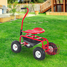 Outsunny Rolling Cart Work Seat Garden Heavy Duty Gardening Tool Planting Farm