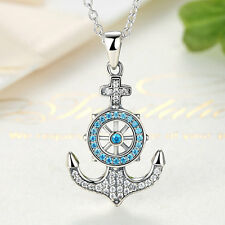 New Authentic 925 Sterling Silver Blue Cubic Anchor Zircons Pendant Necklace