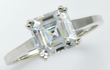 2 ct Asscher Ring Top Brilliant CZ Imitation Moissanite Simulant S Silver Size 8