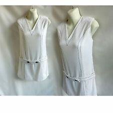 Vintage 60s Dress Size M White Linen Mod Cotton Shift Hopsack UK Gogo Tennis