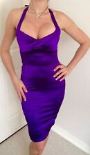 BEBE $149 Purple Sleek Satin Karissa Slim Sexy Halter Dress XS BRAND NEW