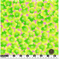Quilting Fabric Green Flowers Pink Background Silver Metallic FQs 100% Cotton