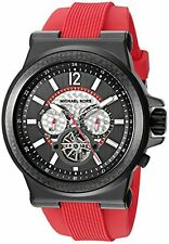 Michael Kors Men's Chrono Automatic Black Dial Red Silicone Band Watch MK9020