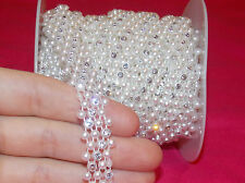 1 meter ivory pearl crystal wedding cake decoration dance ribbon mesh rhinestone