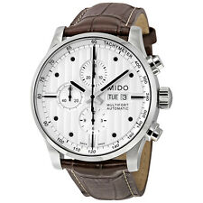 Mido Multifort Chronograph Grey Dial Brown Leather Mens Watch M0056141603100