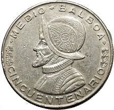 1953 PANAMA 1/2 BALBOA 50th Anniversary of Republic Founding Silver Coin i53781