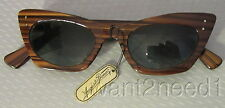40s vtg signed AUGUSTE BONAZ SUNGLASSES torty cat eye celluloid new/old tag