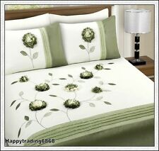 280TC Green White 3D Floral Embroidered 3pc KING QUILT DOONA COVER SET * New