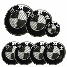 7x BMW emblem SET Carbon Fiber Black/White Emblem Logo For BMW e60 e90 e46 e91
