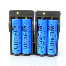 4pcs 3.7v 18650 Rechargeable Li-ion Battery Blue Batteries +2pc Smart Charger