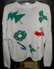 Ugly Tacky Pretty Christmas Party Sweater~White~Tree Tinsel Wreath~Large~VINTAGE