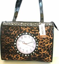 NEW BLACK LEOPARD PRINT LEATHERETTE+REAL CLOCK+STUDS,GEM HAND BAG,PURSE