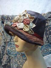 1910-1920 flapper  cloche hat BROWN SILK amazing  millinery pink straw brim