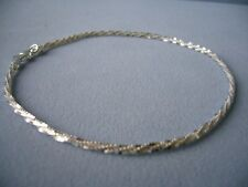 "NEW ITALIAN STERLING SILVER ANKLE BRACELET- 11"" -SHIMMERY FACETED LINK- ITALY925"