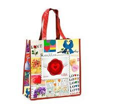 """LOVE POSTAGE STAMPS COLLAGE TOTE BAG ~ Eco-Friendly Recycled Reusable 15"""" NEW"""