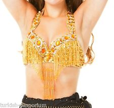 Gold Sequined Belly Dance Bra Top Beaded Fringe Dancing Costume Vegas UK NEW