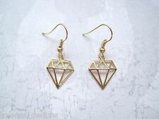 Pale Gold GEOMETRIC DIAMOND FRAME GP Drop Earrings Vintage Style Shape GIFT BAG