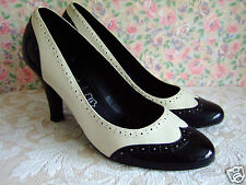 Size UK 7 wide fit black & cream leather 40s WW2 brogue wing tip court shoes