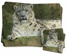 Beautiful Snow Leopard Twin 2x Placemats+2x Coasters Set in Gift Box, AT-47PC