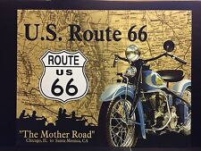 Route 66 Mother Road Indian Motorcycles  TIN SIGN  Garage Vtg Metal Wall Decor