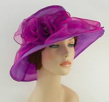 New Church Kentucky Derby Wedding  Party Organza  Dress Hat 3188 Purple