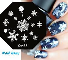 NATALE HOLLY FIOCCHI DI NEVE SNOW NAIL ART STAMP Decalcomanie unghie Stamping Plate # 04