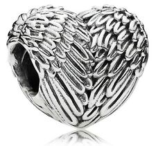 Angelic Feathers Love Heart Genuine Silver s925 Pedant Charm +Gift Pouch