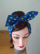 HEAD SCARF HAIR BAND NAVY BLUE GREEN  POLKA DOT SPOTS BUNNY ROCKABILLY band