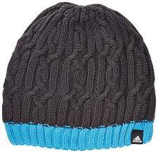 Adidas Unisex Shiny Beanie Hat Charcoal Grey/blue Small