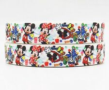 "BTY 7/8"" Disney World Minnie Mickey Grosgrain Ribbon Hair Bows Scrapbooking Lisa"