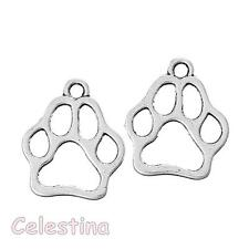 10 x tibétain argent paw print charms chat chien charms bear paws 13mm