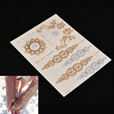 2PCS Flash Tattoo Metallic Temporary Gold Silver Body Henna Transfer Sticker MW