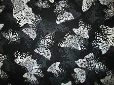Butterfly White Black Inlaid Design Butterflies Cotton Fabric FQ