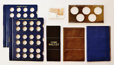 7 MISC COIN HOLDERS: 3 WALLETS + 2 PLASTIC HOLDERS + 2 WHITMAN NICKEL PAGES