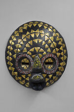 Mask African Baluba Wood Brass Red Yellow Black Beaded Mask Luba