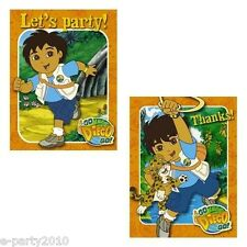 GO DIEGO GO INVITATIONS & Thank You Cards ~ Dora Birthday Party Supplies Notes