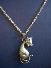Vintage pewter pendant necklace cute cat