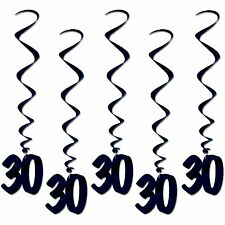 Number 30 Whirls (5pc pkg) black BIRTHDAY OR ANNIVERSARY DECORATION