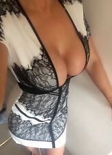 BNWT Missguided Lace Bodycon Plunge Dress Size 10 Celeb Wiggle Boutique Ibiza