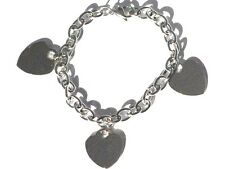 New Stainless Steel 8 inch Chain Bracelet with 3 Hearts engravable Charms