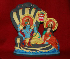 "LORD VISHNU AND DIVINE MOTHER LAKSHMI - 5"" X 7"" HANDPAINTED GANGES CLAY STATUE"