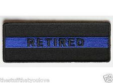 """(D16) RETIRED BLUE LINE POLICE 4"""" x 1.5"""" sew / iron on patch (4408)"""