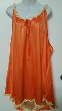 AMOUREUSE SEXY ORANGE /YELLOW NYLON LINED BABY DOLL NIGHTGOWN WOMEN PLUS SIZE 5X