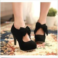 Womens Lady Faux Suede Lolita Shoes High Heels Bowknot Party Pumps US13 Black