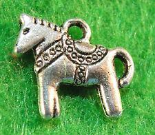 10Pcs. Tibetan Silver 2-Sided HORSE Charms Pendants Earring Drops Findings HR29