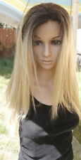 Ombre Dark Roots To light mixed Blonde Lace Front Wig 18'' Heat Resistant Wig
