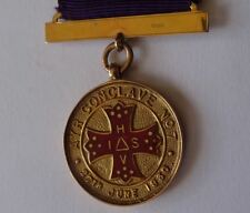 9CT GOLD SCOTTISH MASONIC JEWEL MEDAL, AYR CONCLAVE No 7 FOUNDER MEMBER