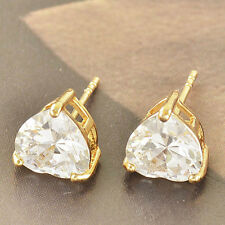 Classic 9K Yellow Gold Filled Cubic Zirconia Ladies Heart Stud Earrings F3826