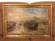 Unknown Folk Art Old Rare Oil Painting Naive Early 1900
